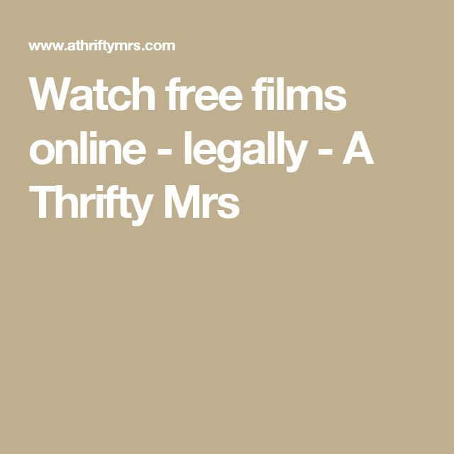 Watch free films online - legally - A Thrifty Mrs