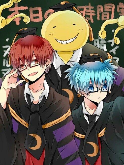 Koro sensei with Karma Akabane and Nagisa Shiota from Assassination Classroom (Ansatsu Kyoushitsu)