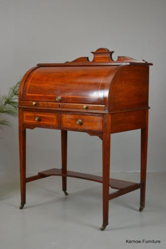 Antique Edwardian Ladies Cylinder Writing Desk Bureau - Kernow Furniture
