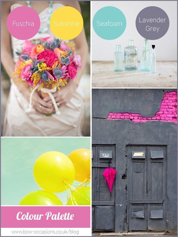 Colour Palette Inspiration Board - Fuschia Pink, Sunshine Yellow, Seafoam Blue and Lavender Grey via Bow Occasions Blog