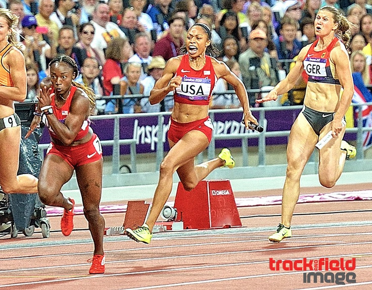 London 2012: Allyson Felix hands off to Bianca Knight at the London Olympic Games 2012 in their WORLD RECORD , Gold Medal 4x100 meter final race. 40.82 seconds.
