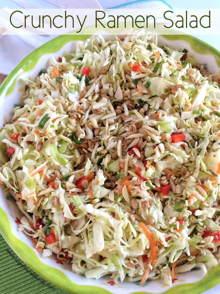 This Crunchy Ramen Salad is full of shredded coleslaw, sweet red pepper, toasted almonds, salty sunflower kernels, green onion and dressing!