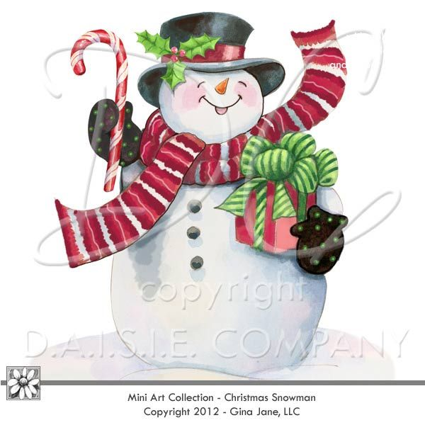 Snowman Clip Art - Snowman with gifts and candy canes, holly and plaid background by Gina Jane, formerly with Provo Craft, and PcCrafter - now at DAISIE COMPANY: Printable Digital Paper Crafts, Clipart, Scrapbooking, Stamp, Party - DaisieCompany.com