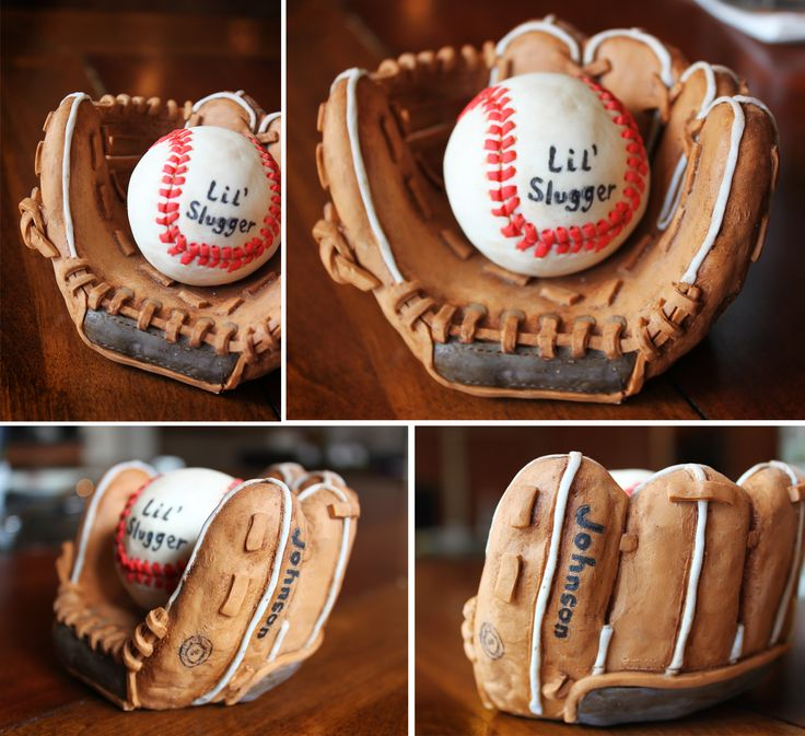 rice crispy treat glove and ball covered in modeling chocolate.