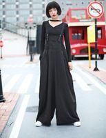2016 новый уличной моды женские большие брюки ремень широкие брюки ноги черный цвет женщины длинные брюки
