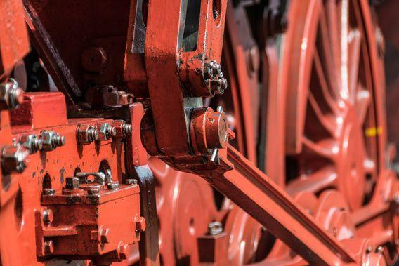 Detail van een stoom locomotief