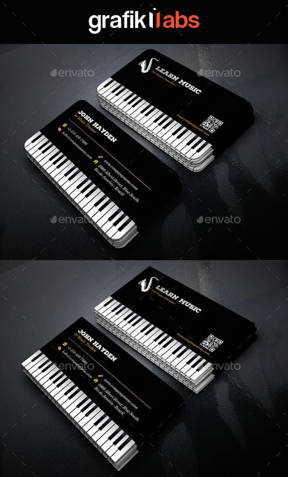 Creative Music Piano Business Card Business Cards Creative Graphic Design Business Card Business Card Design Creative