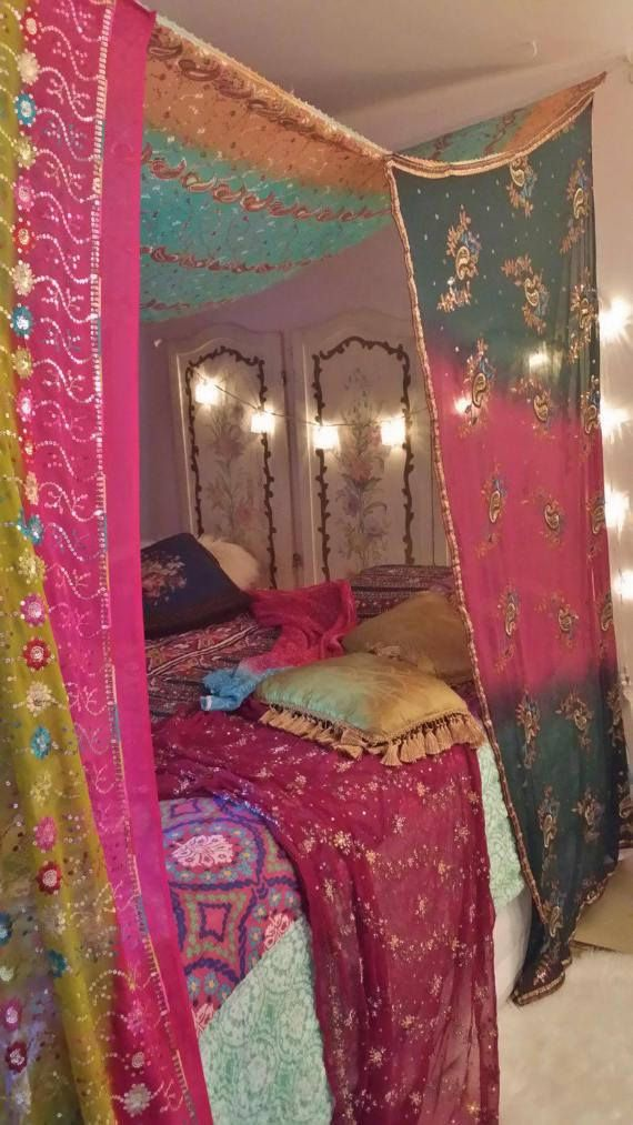 Boho Gypsy Bed Canopy .MADE TO ORDER 2 weeks creation..your canopy will be very similar as pictured...multicolored Made from sequined, embroidered, sheer scarves from India Colors mauve pink, aqua blue, grey, green, magenta, yellow..beautiful embroidery throughout Canopy is attached to