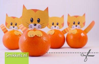 Traktatie mandarijn katjes | Smikkels.nl | met gratis print voorbeeld | Healthy treat with free printable.