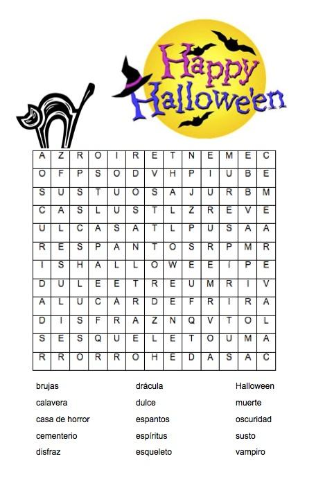 Buscapalabras Halloween Spanish teacher, Classroom fun