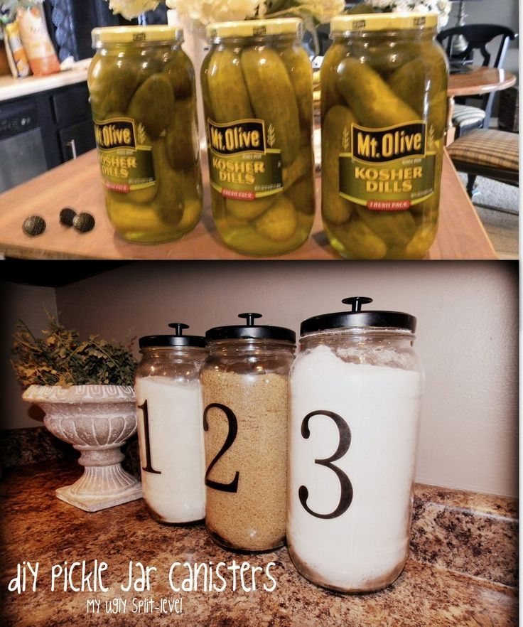 Use a pickle jar paint lid and add a knob for a cute way to store oatmeal on the counter or anything that is used daily.