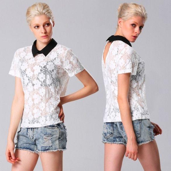 Stylish Lady Elegant Women's Casual New Fashion Lace Floral Short Sleeve Lapel Tops Shirt Blouse White