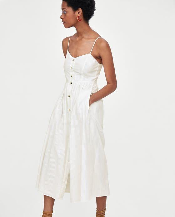 f2a86aea Image 3 of MIDI STRAPPY DRESS from Zara Strappy Summer Dresses, Button Dress,  White