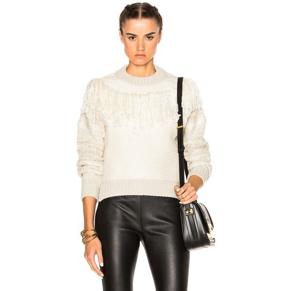 Lanvin Sweater ($765) ❤ liked on Polyvore featuring tops, sweaters, sweaters & knits, side slit sweater, white fringe top, white fringe sweater, white top and side slit top
