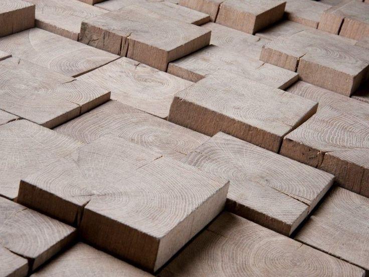 Mosaico tridimensional de madeira PAVE BOIS DEBOUT VIEILLI by Parqueterie Beau Soleil