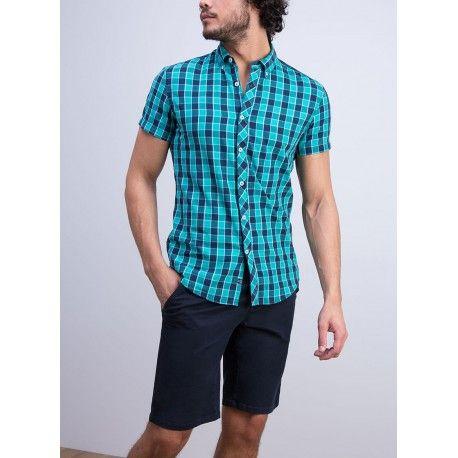 Camisa de cuadros para hombre de manga corta , Color alegre para este verano.