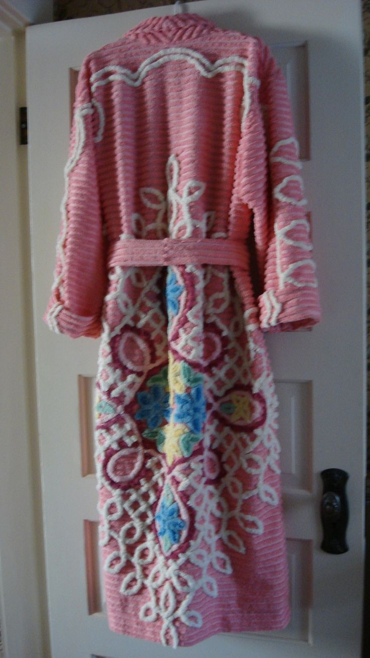 vintage chenille robe for sale | Vintage Chenille Robe Plush and Colorful by MemoriesToTouch