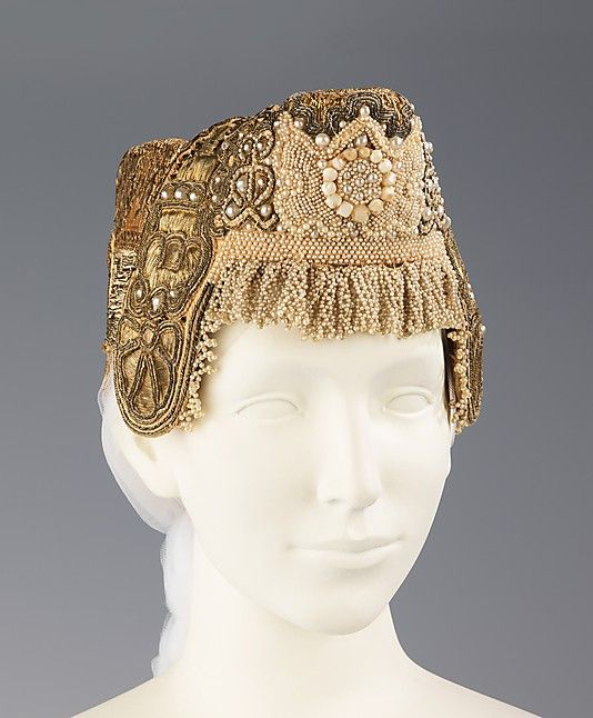 Headdress...Early 19th Century...Russian...Metal, Pearl, cotton, Paper
