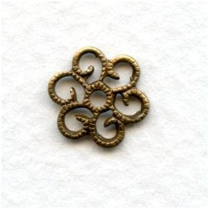 Round Filigree Flat 10mm Oxidized Brass Stampings