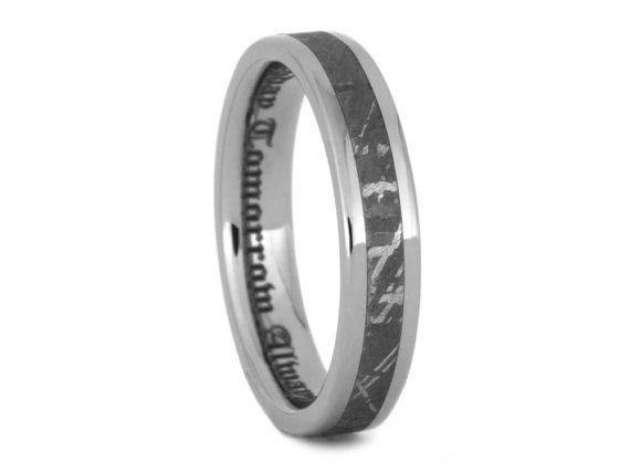 Lovely Women us Gibeon Meteorite Wedding Band Titanium Ring With Real Meteorite Inlay Unique Ring For