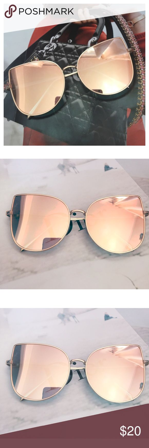 Rose Gold Mirrored Sunglasses, Cat Eye Sunglasses Restocked! Cat Eye Aviator Sunglasses. This listing is for a pair of Cat Eye aviator sunshades. Rose Gold Mirrored Sunglasses. Retro. Sunglasses. Wire sunglasses. Trending sunglasses. UV protection. Top quality! Brand new! Bundle and save! Accessories Glasses