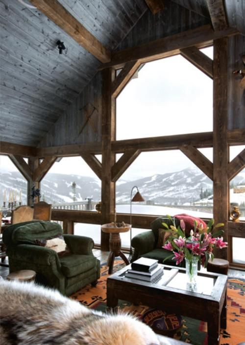 Log cabin living room with amazing views in Big Sky, Montana