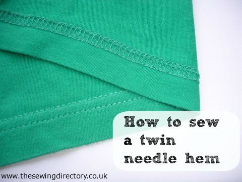 How to sew a twin needle hem on stretch fabric from The Sewing Directory