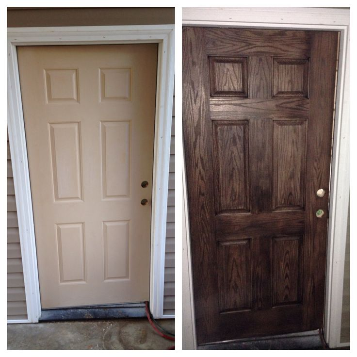 Before and after of my fiberglass garage door i didn 39 t even use a whole 1 2 pint container of - Paint or stain fiberglass exterior doors concept ...