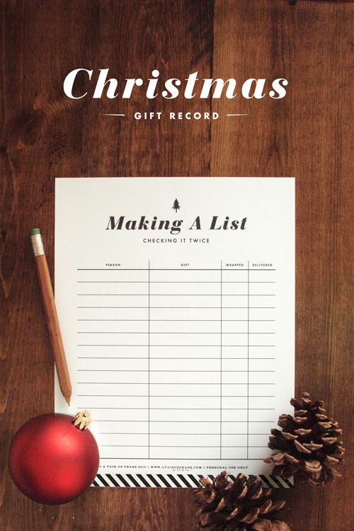 Making a list - Gift record, Christmas printable