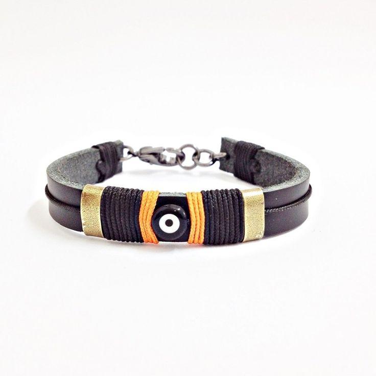 Pulseira masculina de couro e olho grego mens bracelets leather turco eyer evil moda fashion style men mens bracelete bracelet