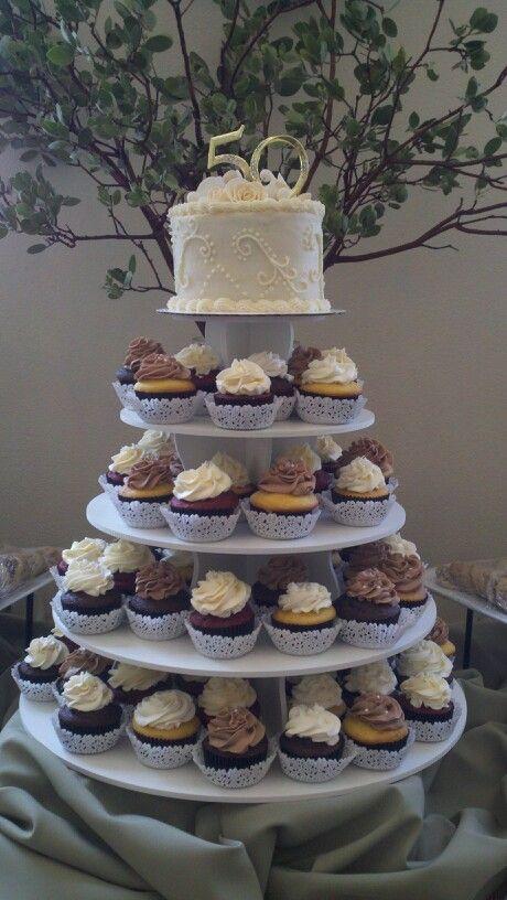 50th anniversary cupcakes - chocolate & vanilla top of ...