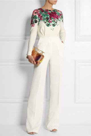 C'est parfait, blanche et la fleurs > Elie Saab | Floral-print stretch-crepe jumpsuit #EllieSaab #2014 #Fashion