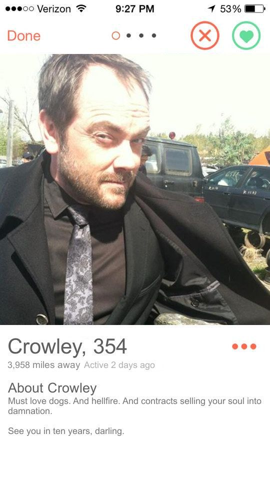 "Crowley   Community Post: If ""Supernatural"" Characters Had Tinder"