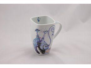 Porcelánový hrnek 600 ml - modrá kočka