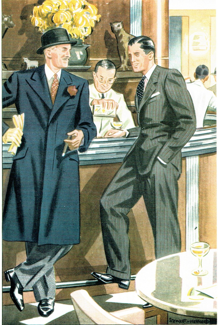 Vintage Menswear fashion illustration from the 1930's.