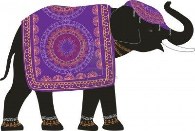 Decorated Indian Elephant Motif