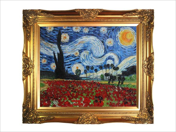 Van Gogh Paintings: Starry Poppies Collage (artist interpretation) with Victorian Gold Frame - Gold Finish Framed Oil reproduction. Description from neweggflash.com. I searched for this on bing.com/images