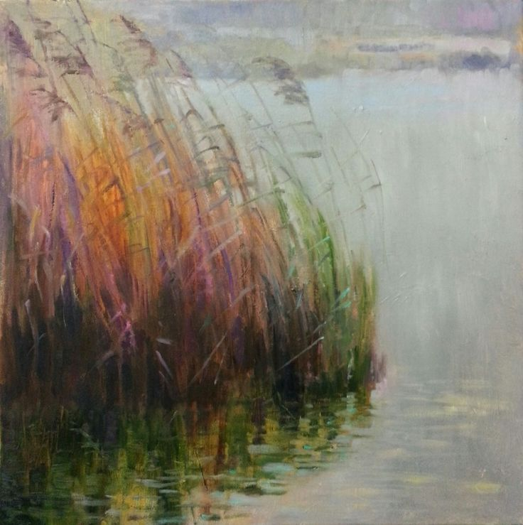 """Glowing Reed"" impressionist landscape oil painting by Heidi Hjort. Zooming in, I saw lots and lots of colors in the reed. And in there, was a wonderful, warm color against all the cooler ones. Like a glow inside the reed!"