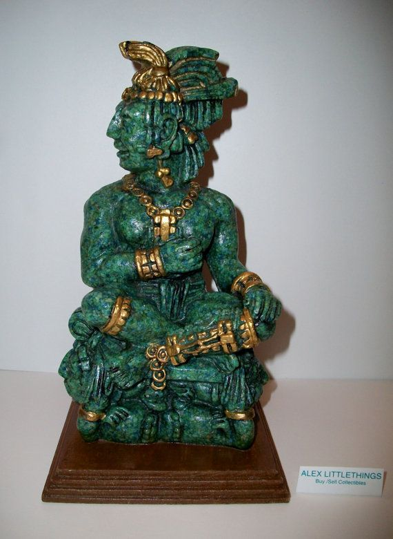 Vintage Aztec Leader Montezuma Jade Green And By