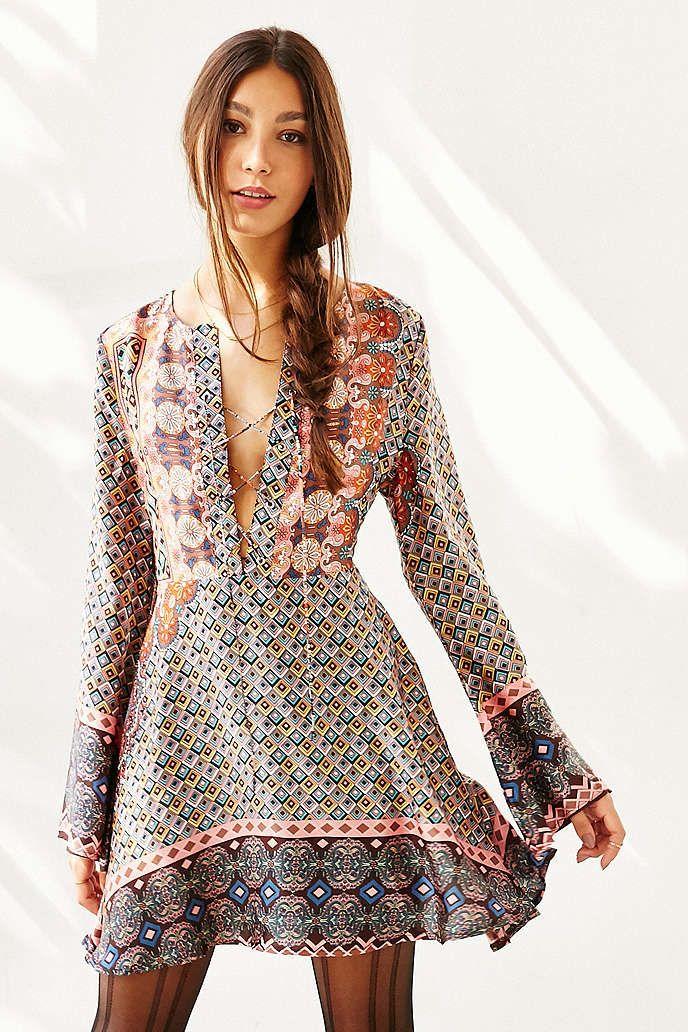 Glamorous Ladies Border Print Dress - Urban Outfitters