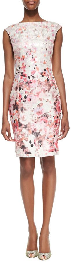 $122, Floral Printed Metallic Sheath Dress by Kay Unger New York. Sold by Neiman Marcus. Click for more info: http://lookastic.com/women/shop_items/78031/redirect