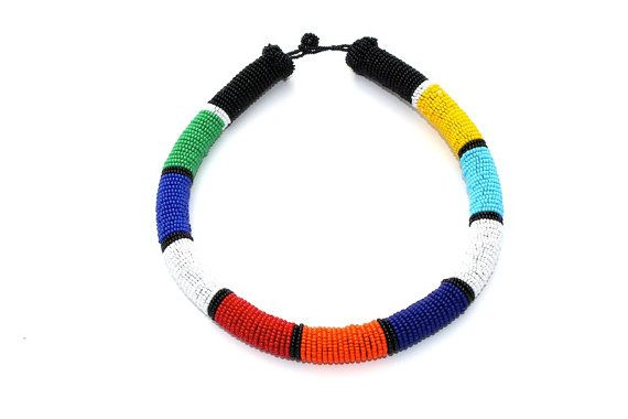 Zulu inspired bead wrapped rope necklace