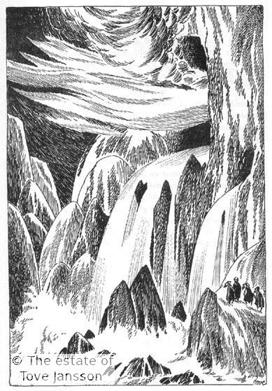 Tove Jansson's illustrations to J. R. R. Tolkien: Bilbo – en hobbits äventyr, Rabén & Sjögren, 1962, p. 209 - The front gate of the Lonely Mountain