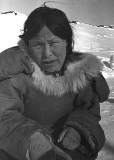 In the 1950s, Pitseolak lived for a time in a camp outside Cape Dorset headed by Peter Pitseolak. Portrait of Pitseolak Ashoona, c. 1942–45. Photograph by Peter Pitseolak.
