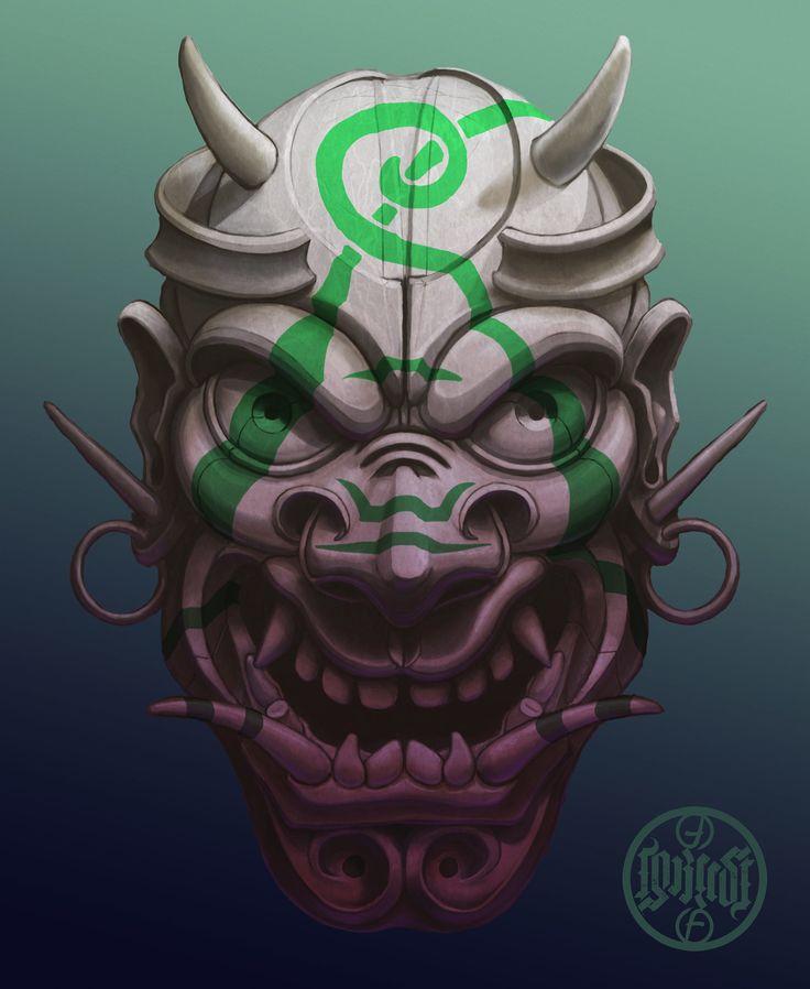 Evil painted samurai mask