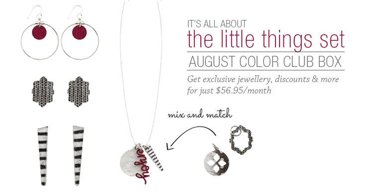 Join Color Club - the premier subscription service and your new personal shopper  Get this fabulous exclusive before its gone! Available ONLY in August! #colorclub #augustbirhday #gifts #exclusive #sneakpeaks #freeshipping #savemore #necklace #earrings #charms www.kieranfaw.mycolorbyamber.com/shop/color-club