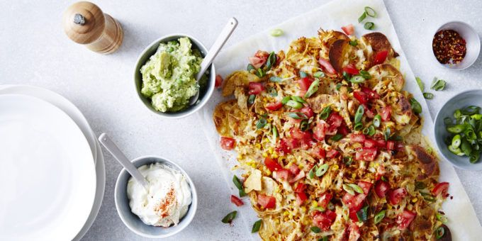 Our Easy Mexican Nachos with Greened-up Guac. You'll find plenty of nutritious veg and protein among the layers of crunchy chips and melty cheese. We've even greened up the guac with frozen peas. Genius! – I Quit Sugar