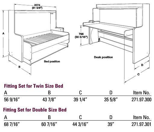 Murphy Bed Desk Dimensions : Hafele quot hiddenbed hardware mechanism for foldaway bed