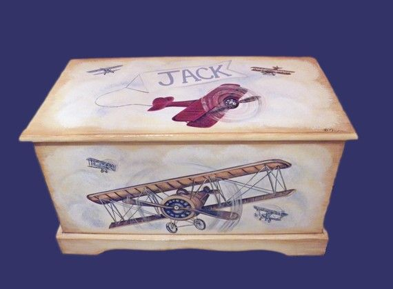 Vintage Airplane Toy Chest Custom Designed by originalsbybarbmazur - WANT and LOVE!!