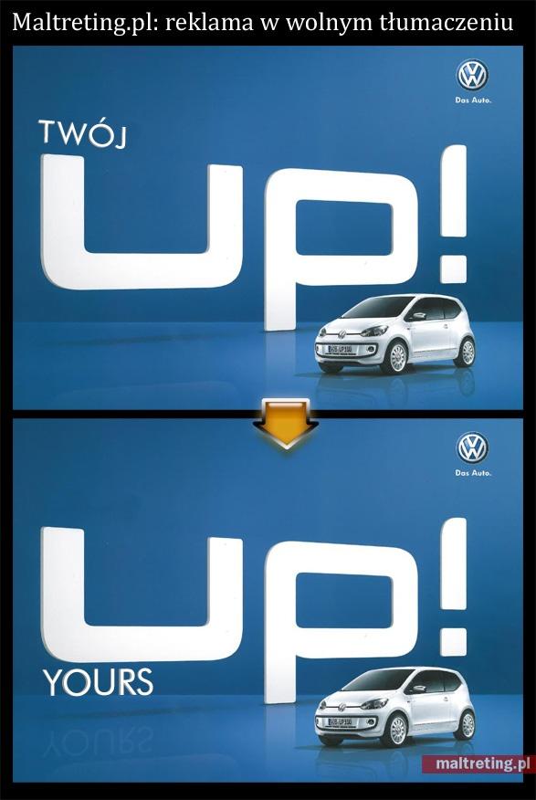 Śmiała lingwistycznie przeróbka nie do końca istniejącej reklamy VW.